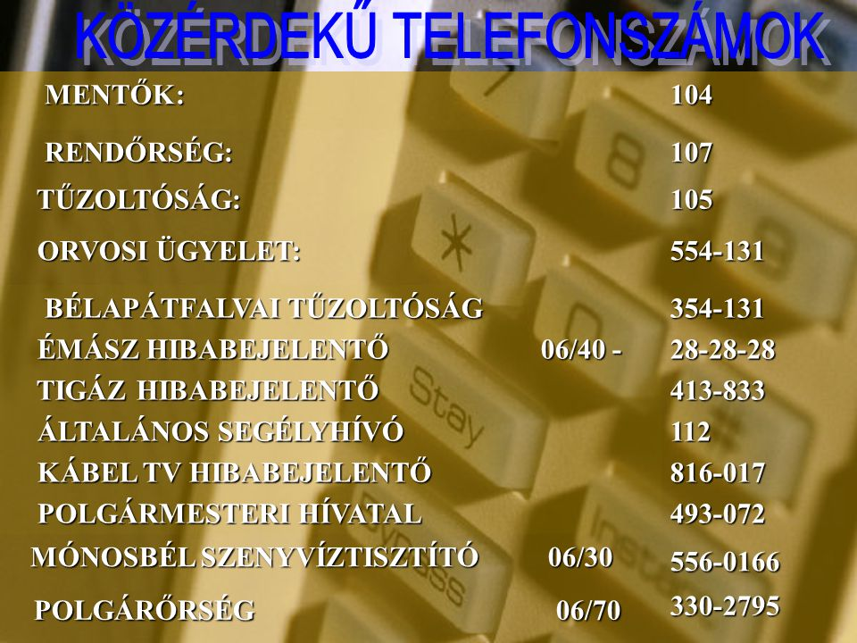 KÖZÉRDEKŰ TELEFONSZÁMOK