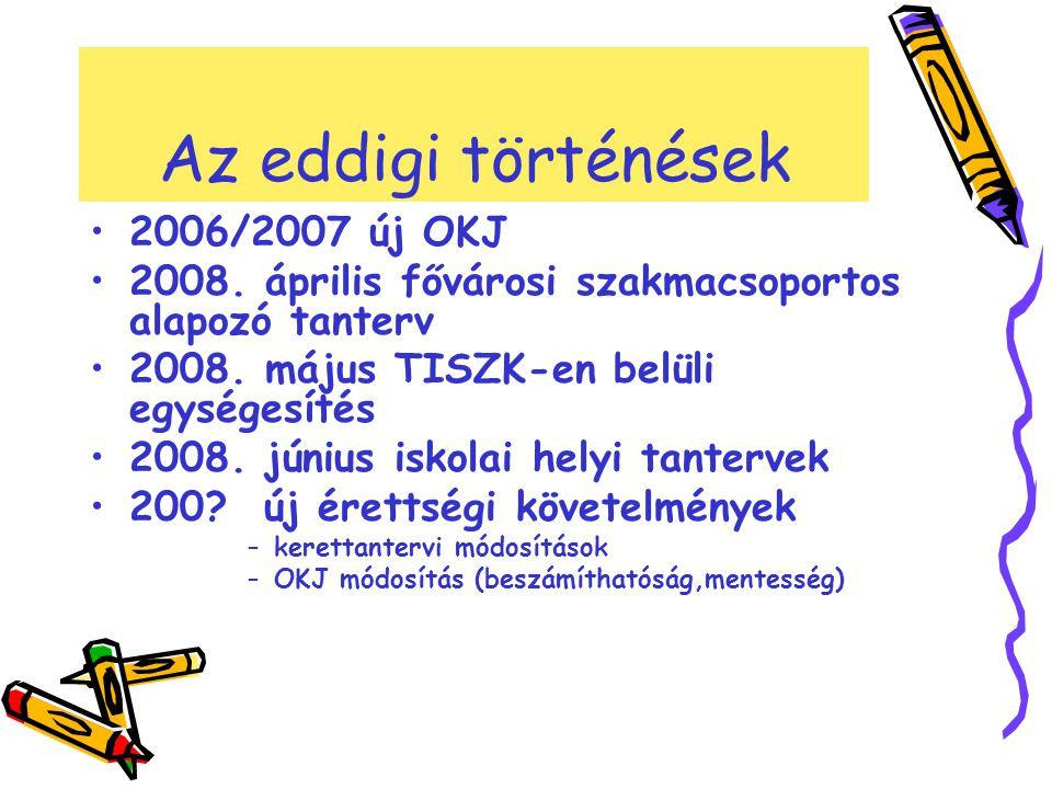 Az eddigi történések 2006/2007 új OKJ