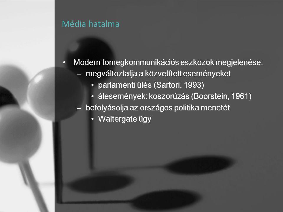 Média hatalma Modern tömegkommunikációs eszközök megjelenése: