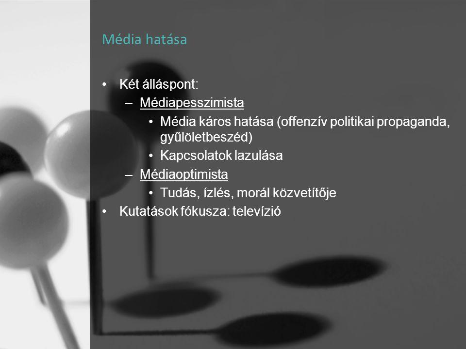 Média hatása Két álláspont: Médiapesszimista
