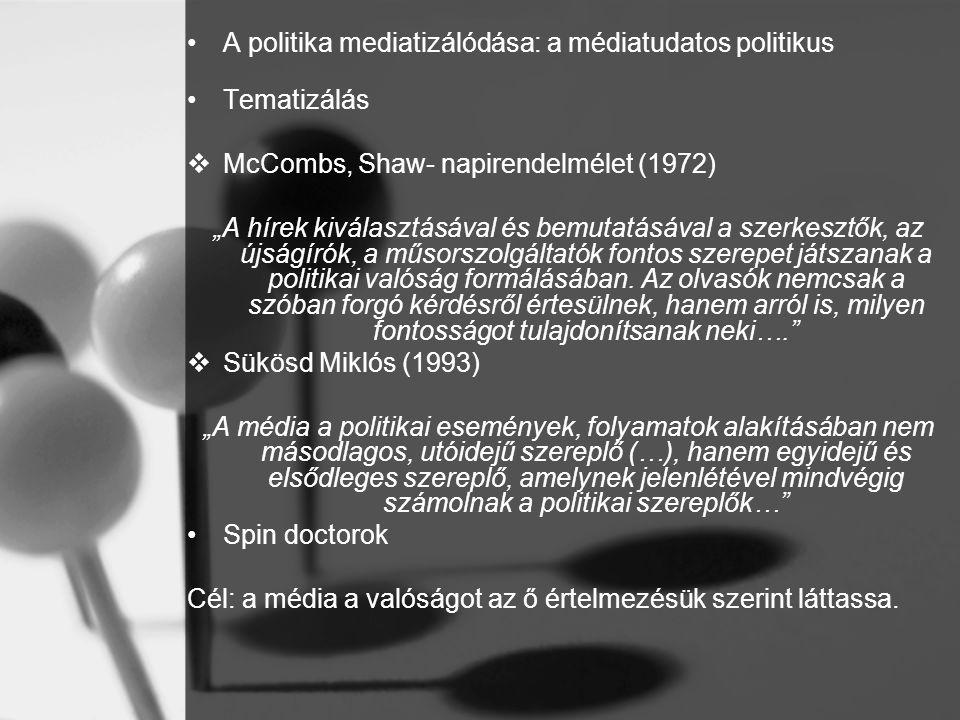 A politika mediatizálódása: a médiatudatos politikus