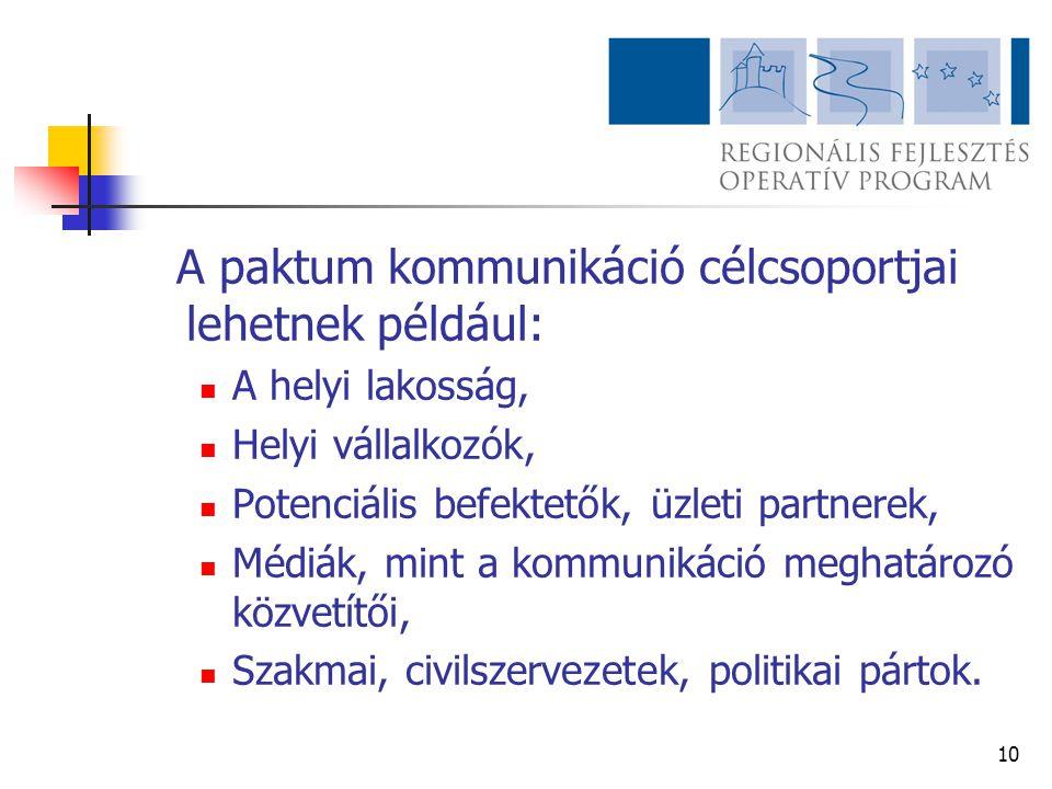 A paktum kommunikáció célcsoportjai lehetnek például: