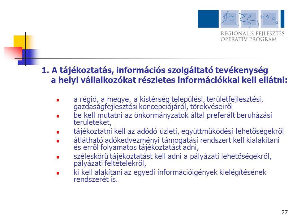 1. A tájékoztatás, információs szolgáltató tevékenység