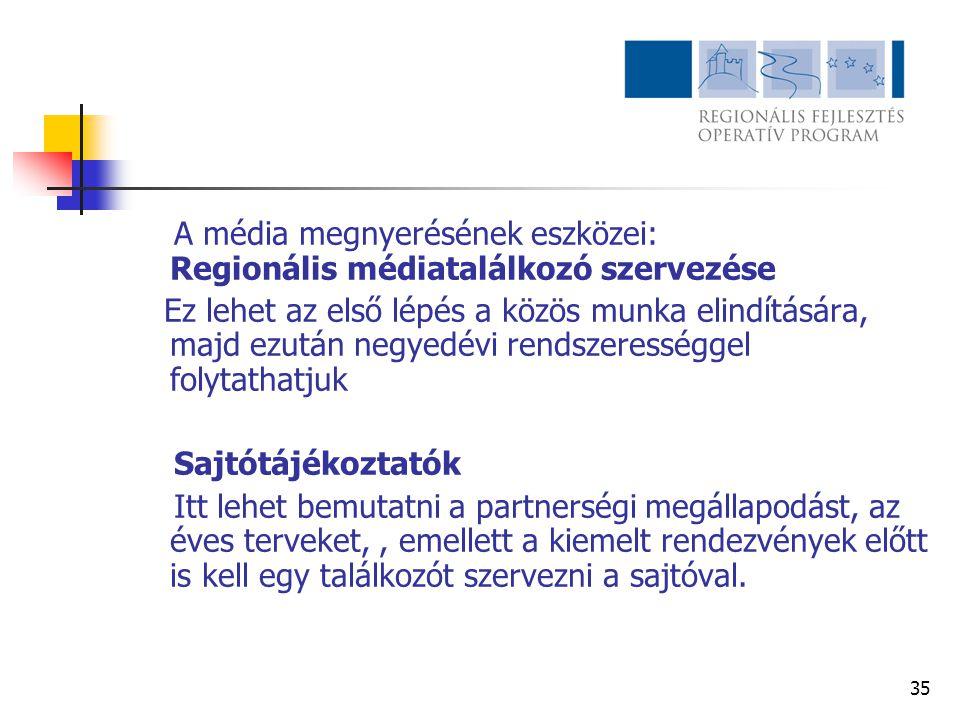 A média megnyerésének eszközei: Regionális médiatalálkozó szervezése