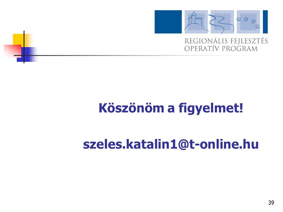 Köszönöm a figyelmet! szeles.katalin1@t-online.hu