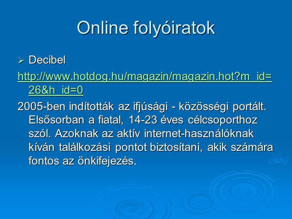 Online folyóiratok Decibel