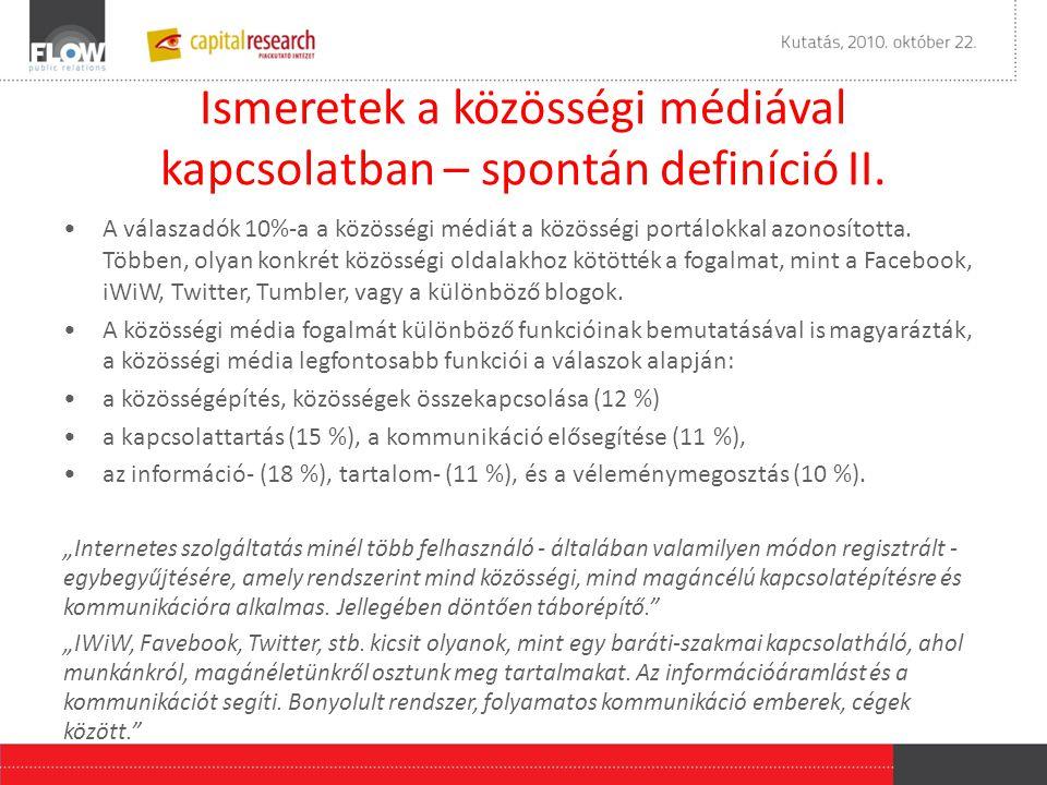 Ismeretek a közösségi médiával kapcsolatban – spontán definíció II.