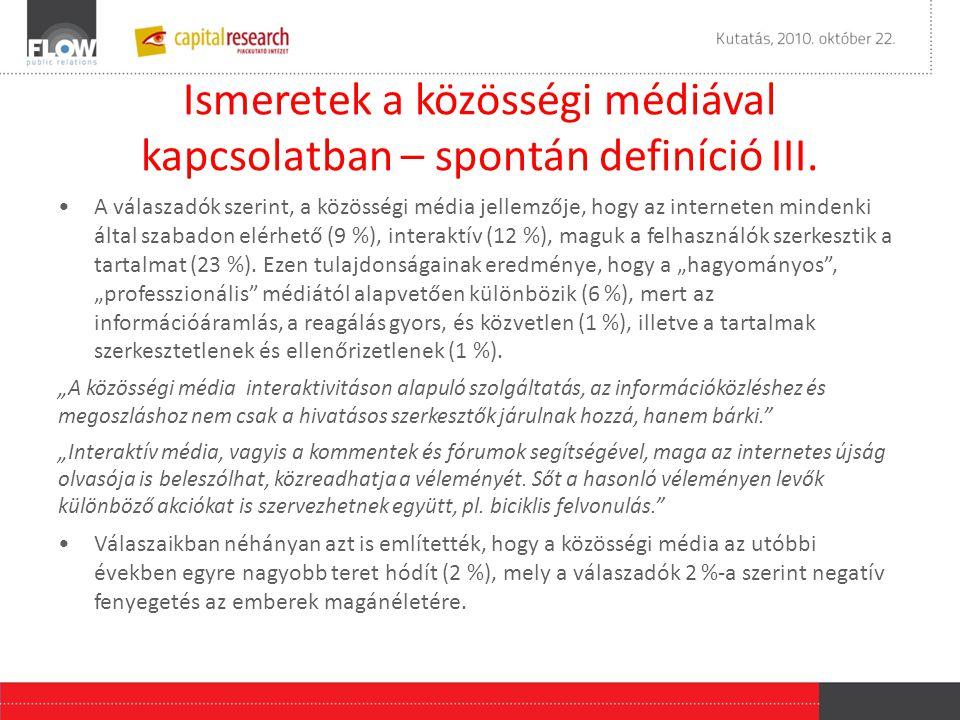 Ismeretek a közösségi médiával kapcsolatban – spontán definíció III.