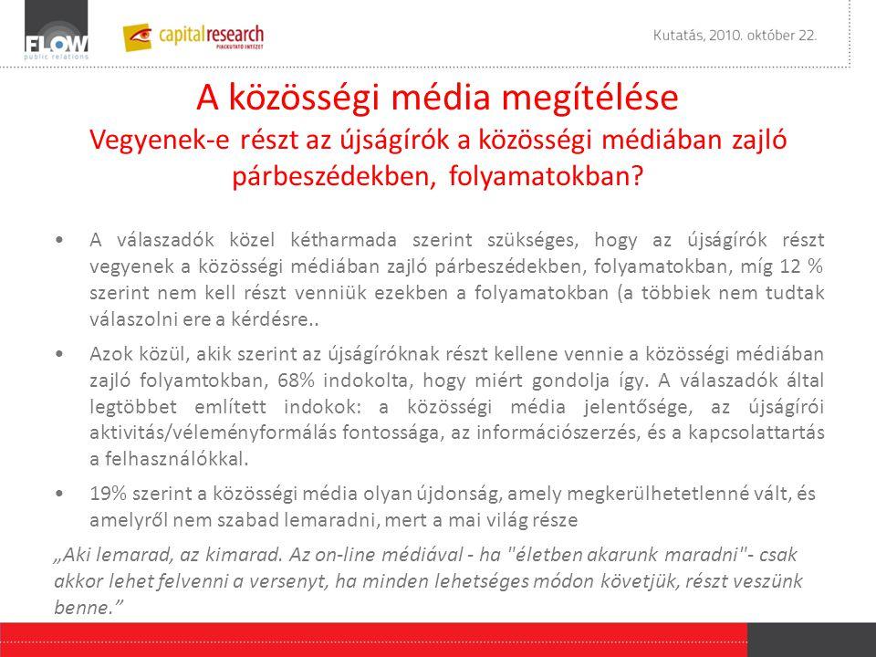 A közösségi média megítélése Vegyenek-e részt az újságírók a közösségi médiában zajló párbeszédekben, folyamatokban