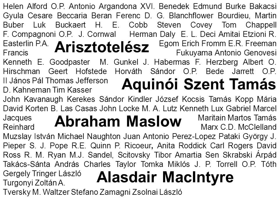 Arisztotelész Aquinói Szent Tamás Abraham Maslow Alasdair MacIntyre