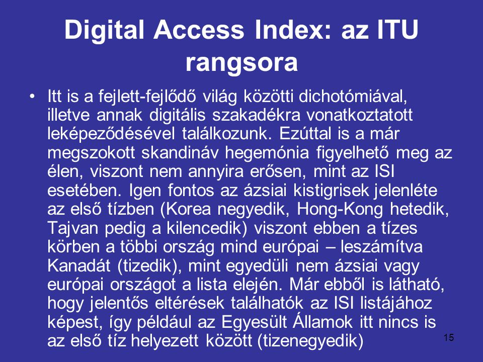 Digital Access Index: az ITU rangsora
