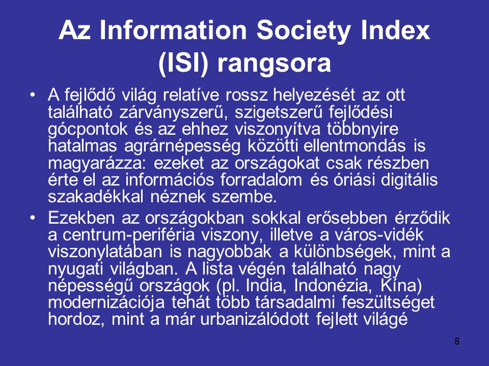 Az Information Society Index (ISI) rangsora