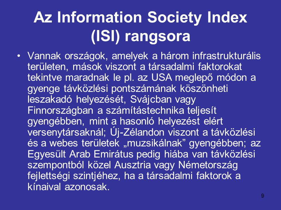 Az Information Society Index (ISI) rangsora