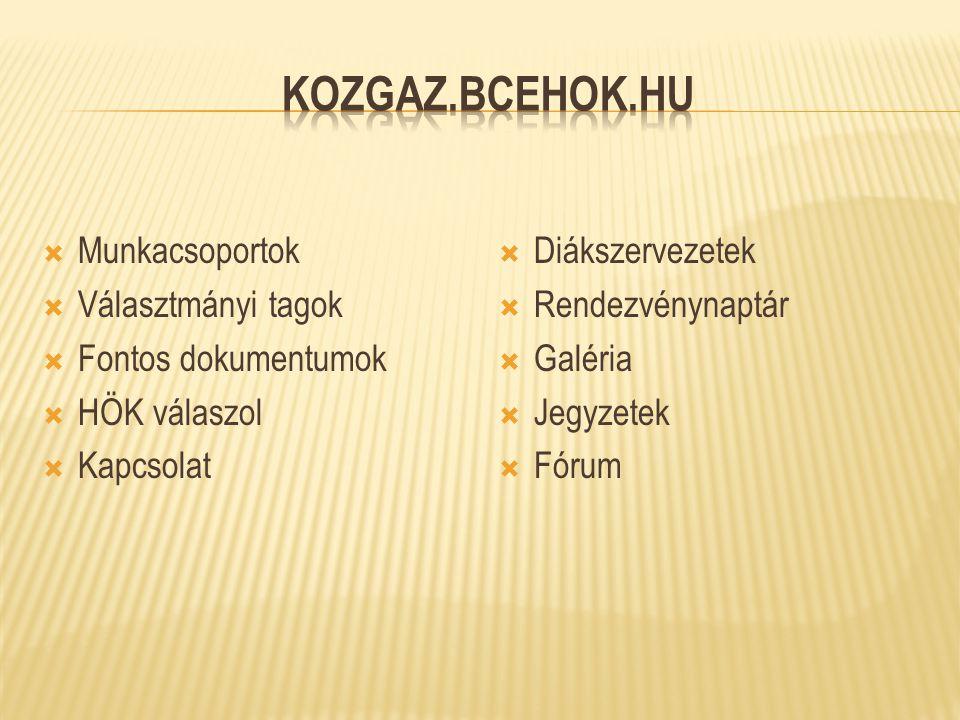 Kozgaz.bcehok.hu Munkacsoportok Választmányi tagok Fontos dokumentumok