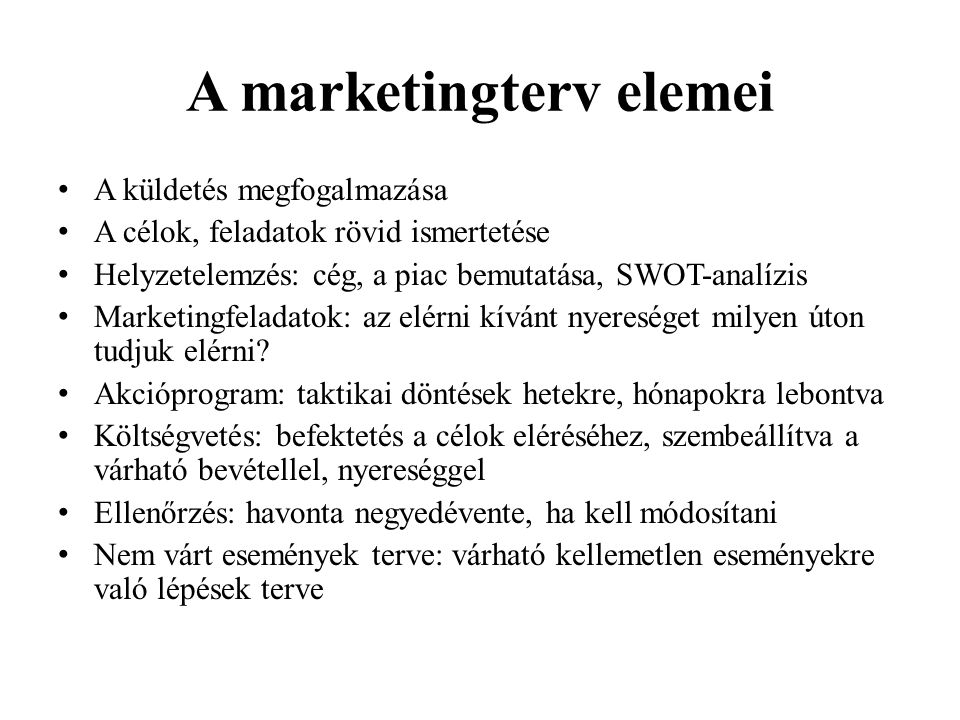 A marketingterv elemei