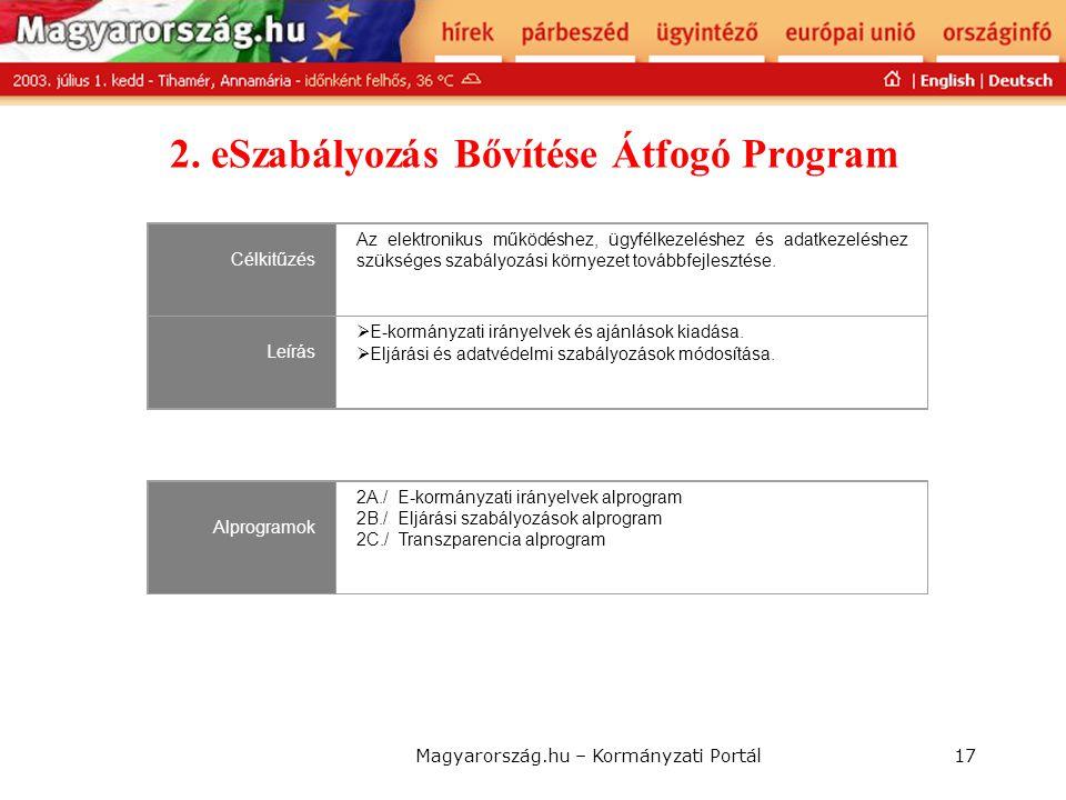 2. eSzabályozás Bővítése Átfogó Program
