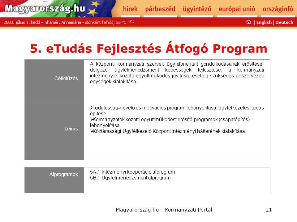 5. eTudás Fejlesztés Átfogó Program