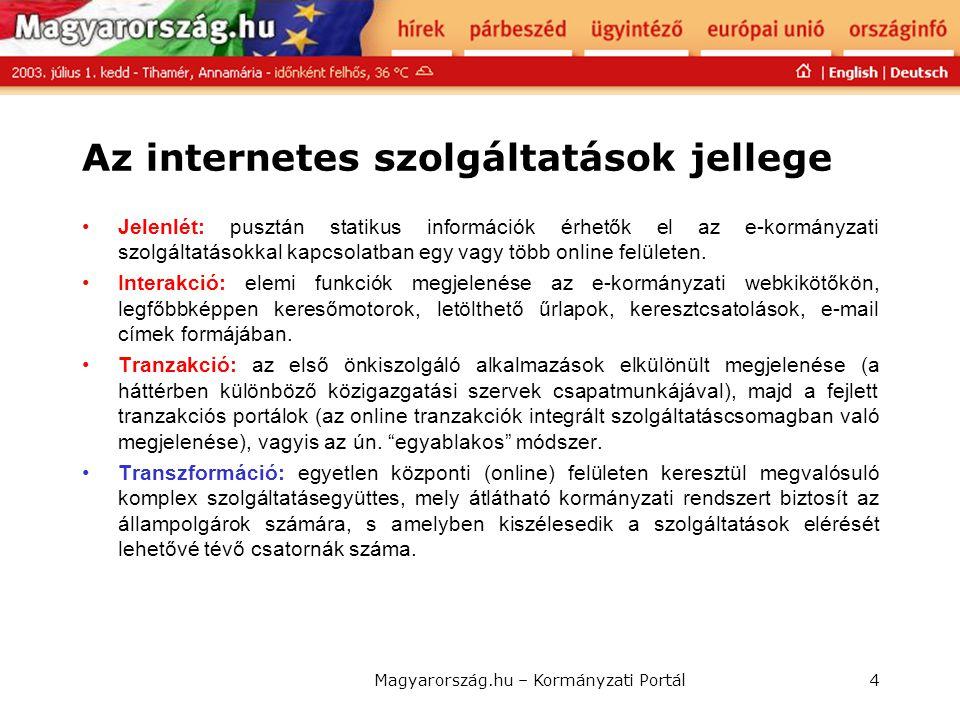Az internetes szolgáltatások jellege