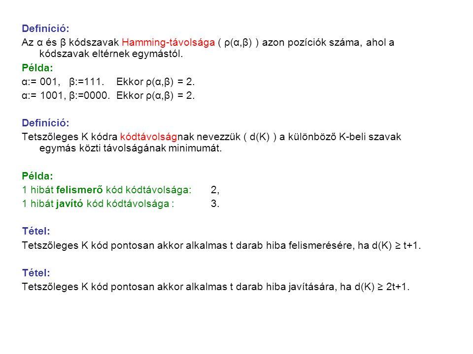 Definíció: Az α és β kódszavak Hamming-távolsága ( ρ(α,β) ) azon pozíciók száma, ahol a kódszavak eltérnek egymástól.