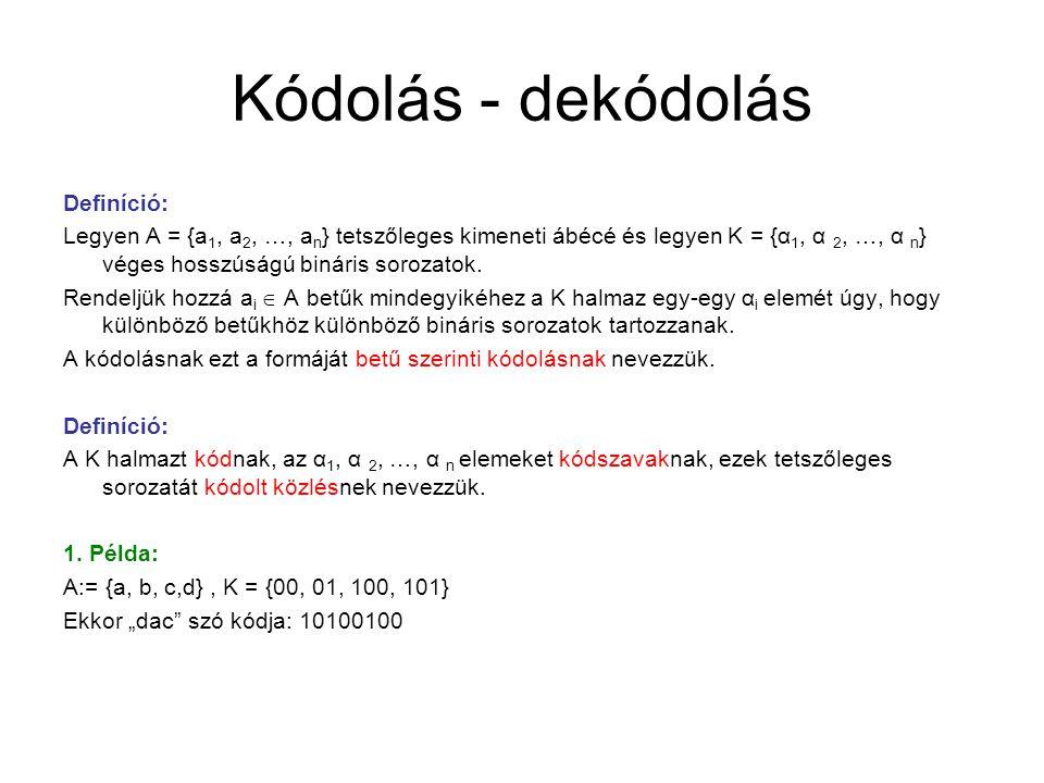 Kódolás - dekódolás Definíció: