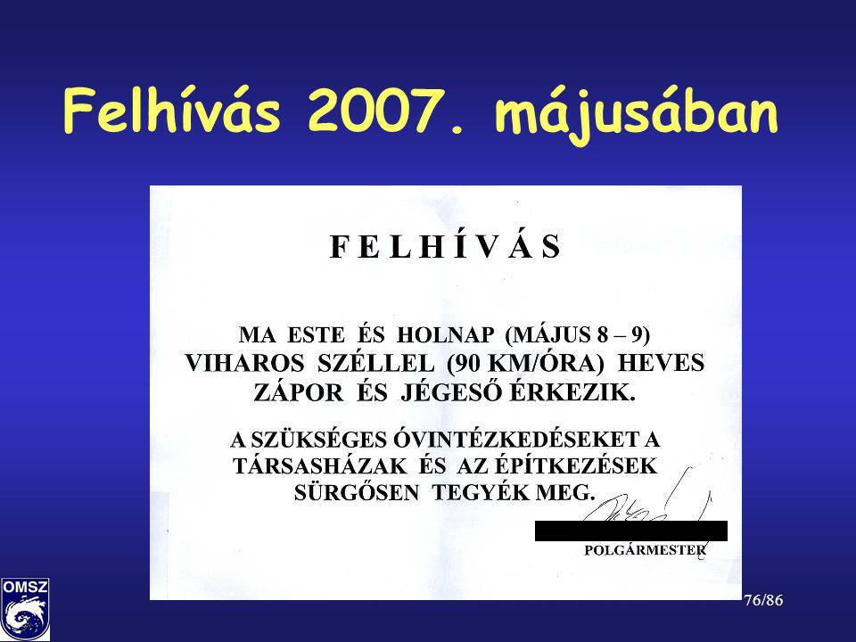 Felhívás 2007. májusában
