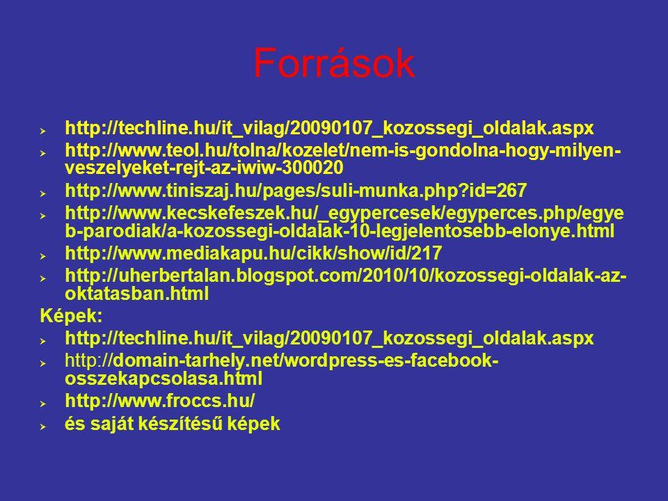 Források http://techline.hu/it_vilag/20090107_kozossegi_oldalak.aspx