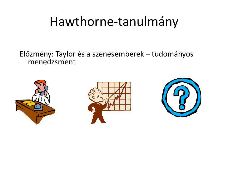 Hawthorne-tanulmány Előzmény: Taylor és a szenesemberek – tudományos menedzsment