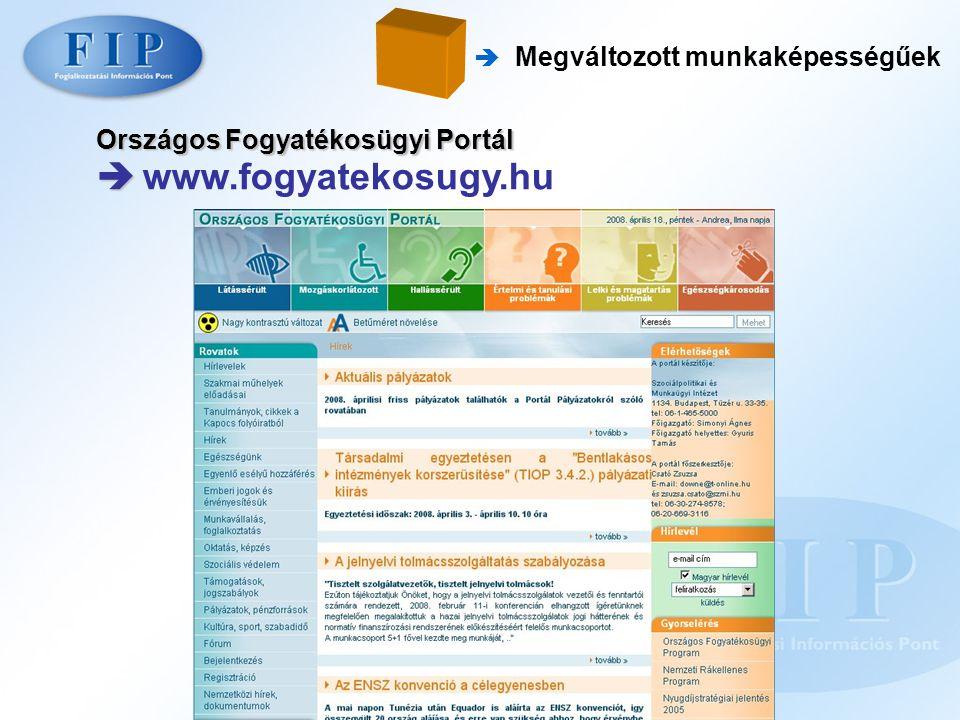  www.fogyatekosugy.hu Országos Fogyatékosügyi Portál