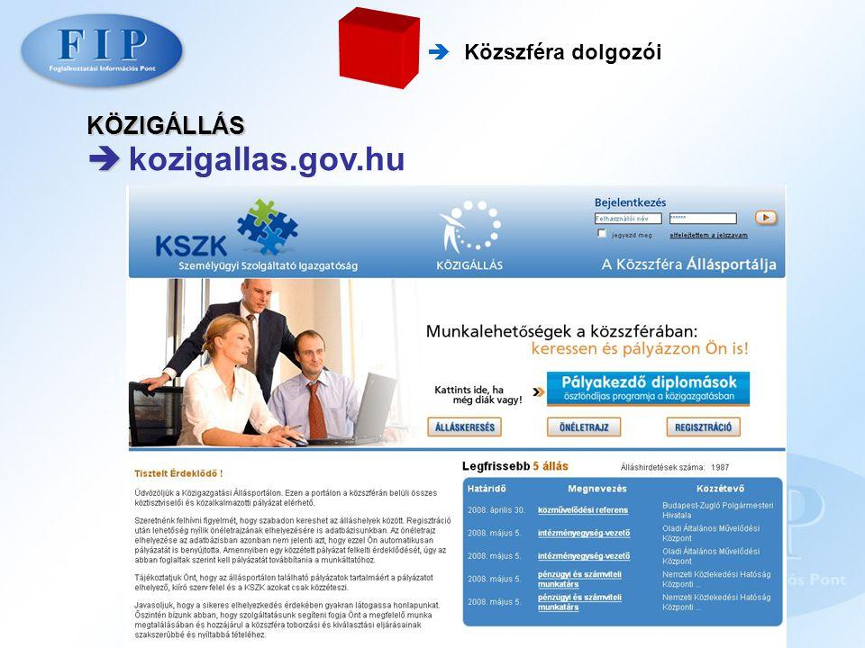  kozigallas.gov.hu KÖZIGÁLLÁS  Közszféra dolgozói
