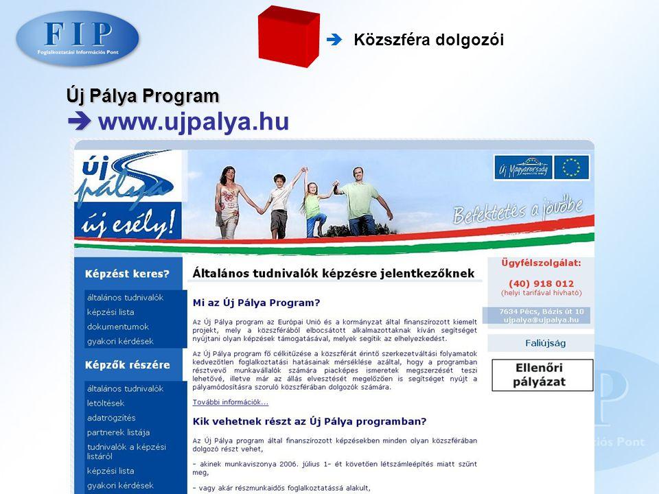  www.ujpalya.hu Új Pálya Program  Közszféra dolgozói