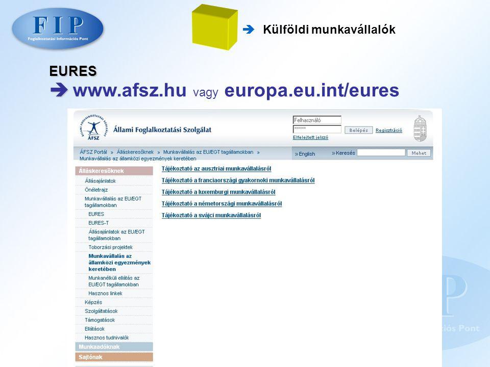  www.afsz.hu vagy europa.eu.int/eures