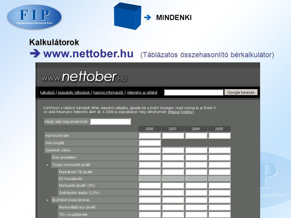 www.nettober.hu (Táblázatos összehasonlító bérkalkulátor)