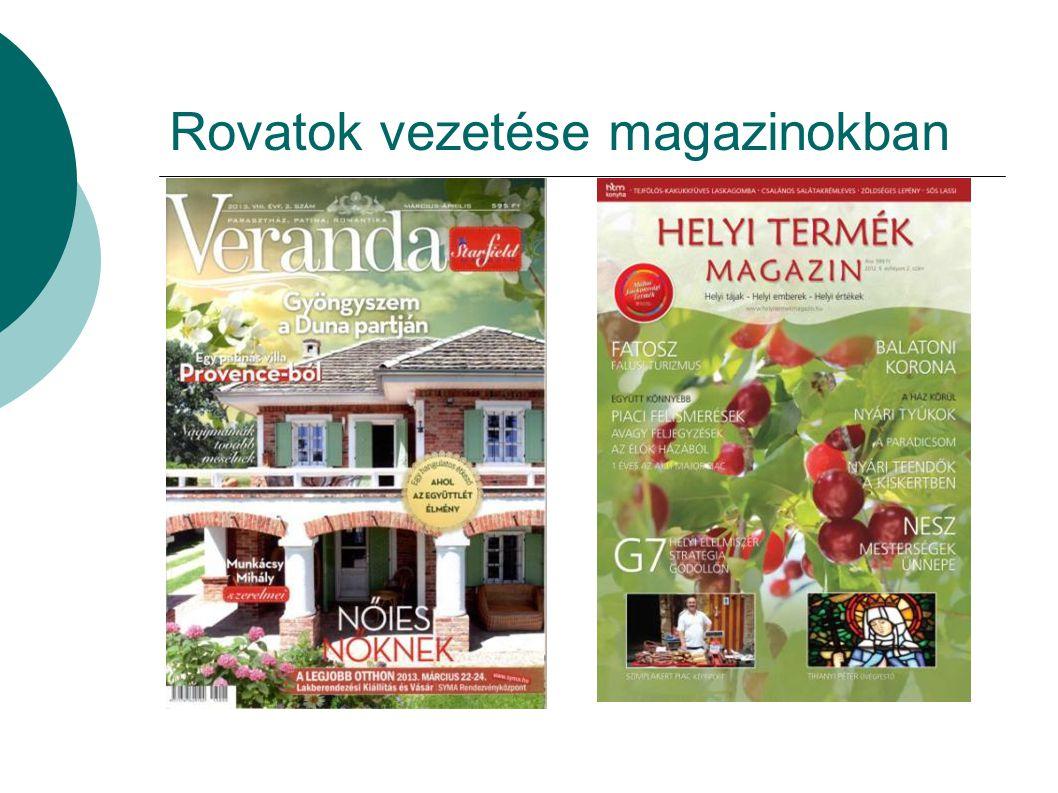 Rovatok vezetése magazinokban
