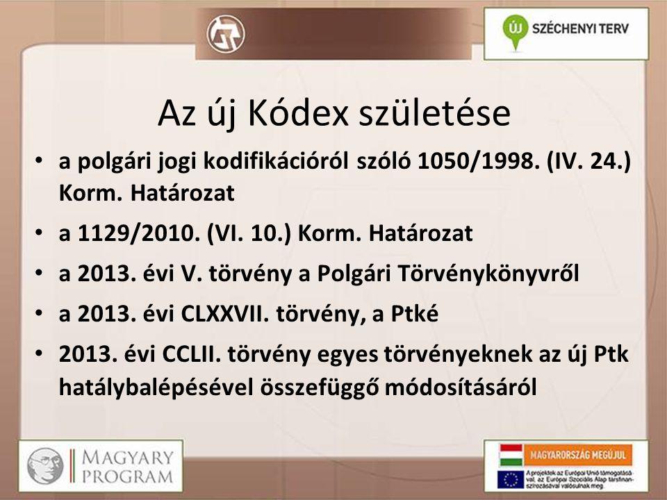 Az új Kódex születése a polgári jogi kodifikációról szóló 1050/1998. (IV. 24.) Korm. Határozat. a 1129/2010. (VI. 10.) Korm. Határozat.