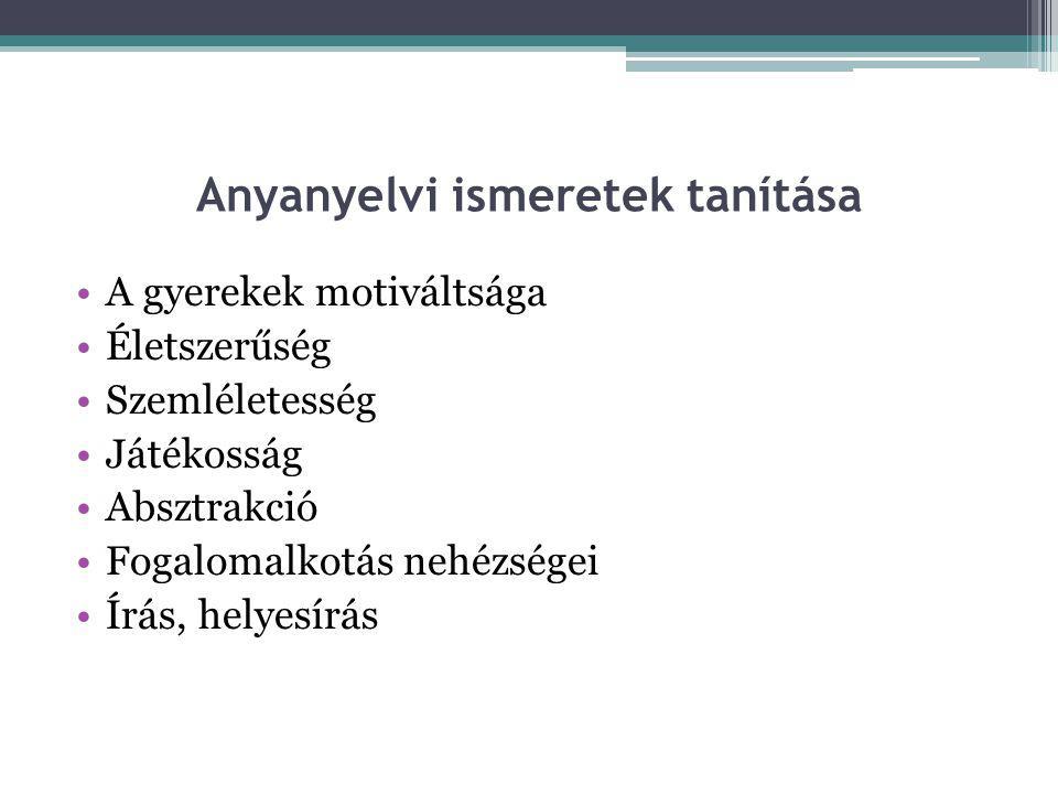 Anyanyelvi ismeretek tanítása
