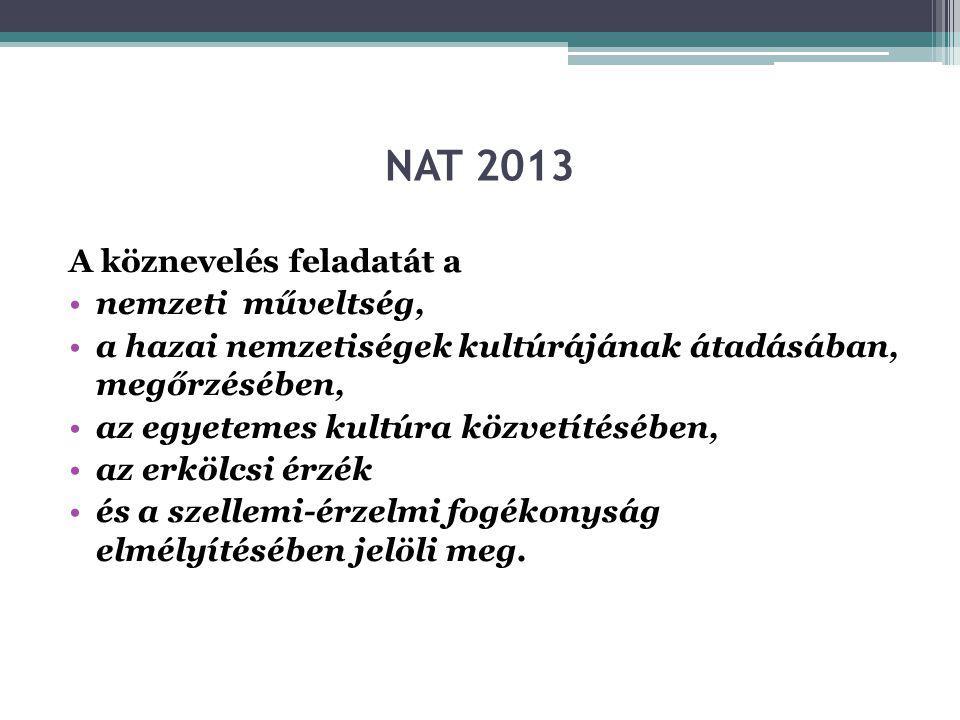 NAT 2013 A köznevelés feladatát a nemzeti műveltség,