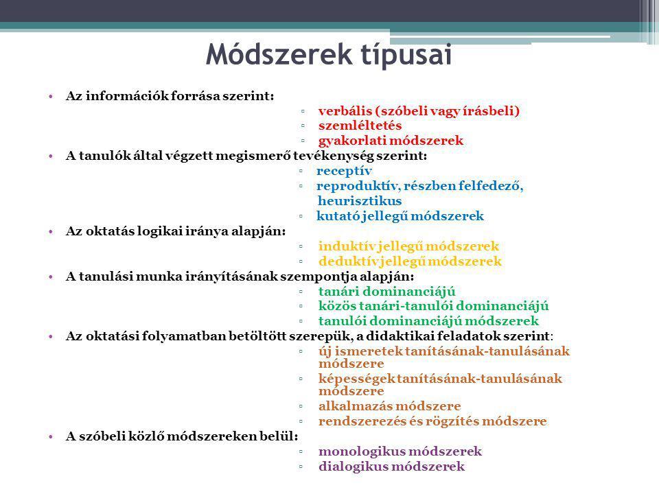 Módszerek típusai Az információk forrása szerint: