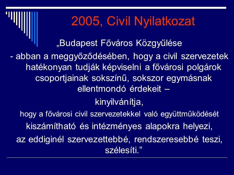 """2005, Civil Nyilatkozat """"Budapest Főváros Közgyűlése"""
