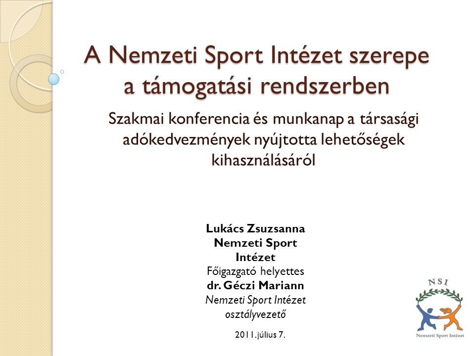 A Nemzeti Sport Intézet szerepe a támogatási rendszerben