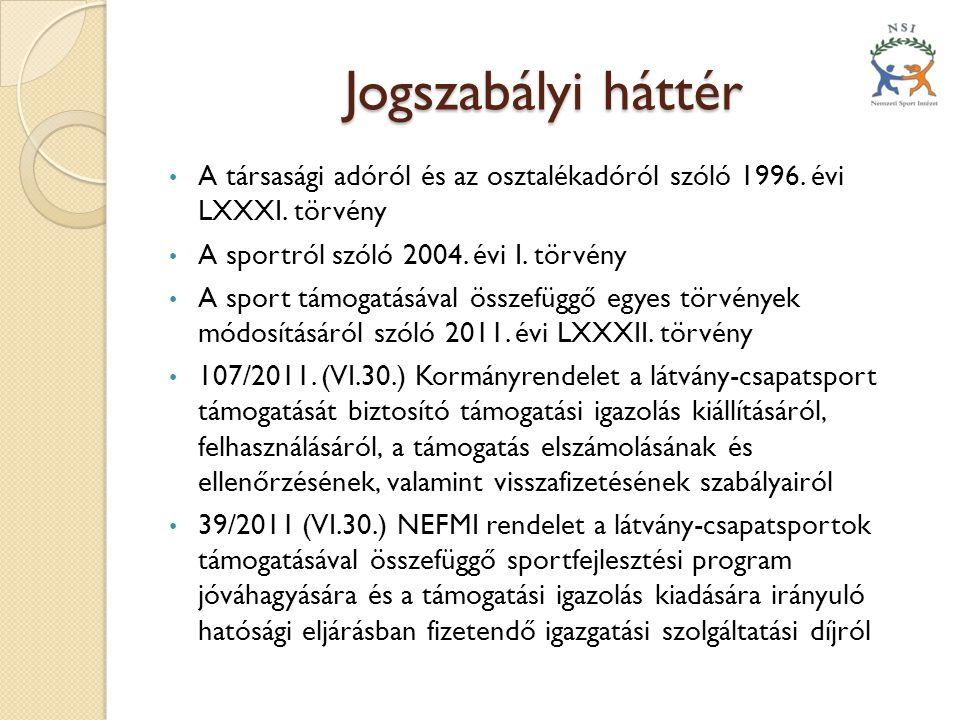 Jogszabályi háttér A társasági adóról és az osztalékadóról szóló 1996. évi LXXXI. törvény. A sportról szóló 2004. évi I. törvény.