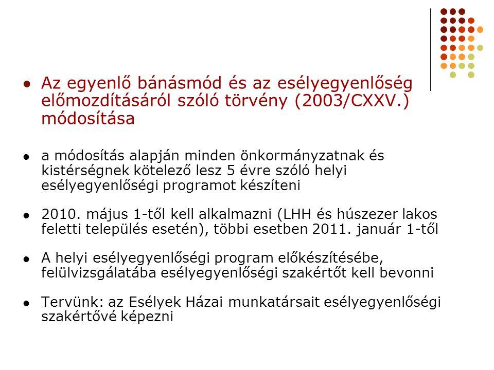 Az egyenlő bánásmód és az esélyegyenlőség előmozdításáról szóló törvény (2003/CXXV.)