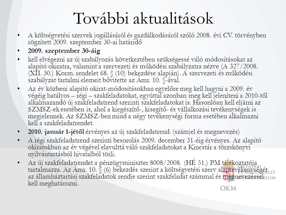 További aktualitások A költségvetési szervek jogállásáról és gazdálkodásáról szóló 2008. évi CV. törvényben rögzített 2009. szeptember 30-ai határidő.