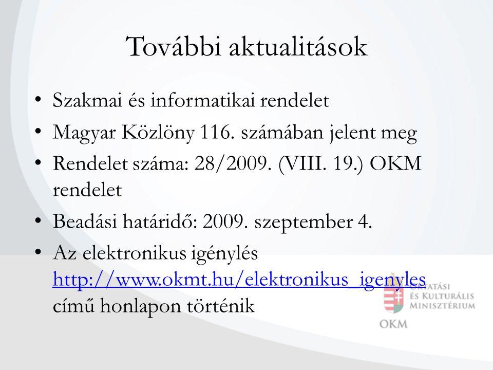 További aktualitások Szakmai és informatikai rendelet