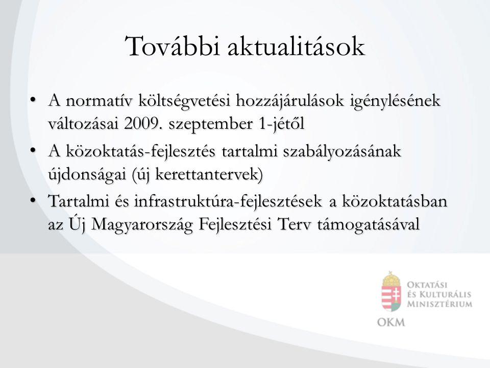 További aktualitások A normatív költségvetési hozzájárulások igénylésének változásai 2009. szeptember 1-jétől.