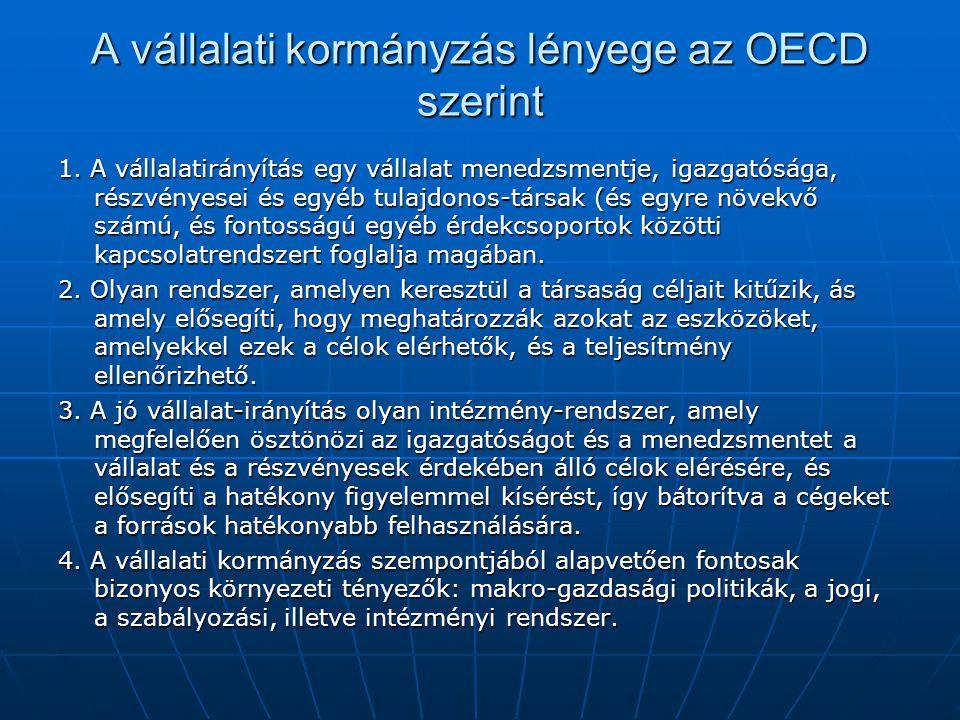 A vállalati kormányzás lényege az OECD szerint