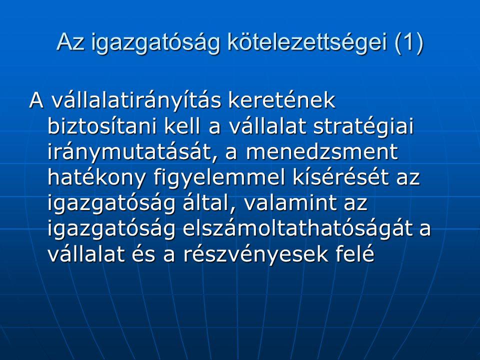 Az igazgatóság kötelezettségei (1)