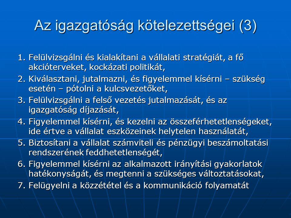 Az igazgatóság kötelezettségei (3)