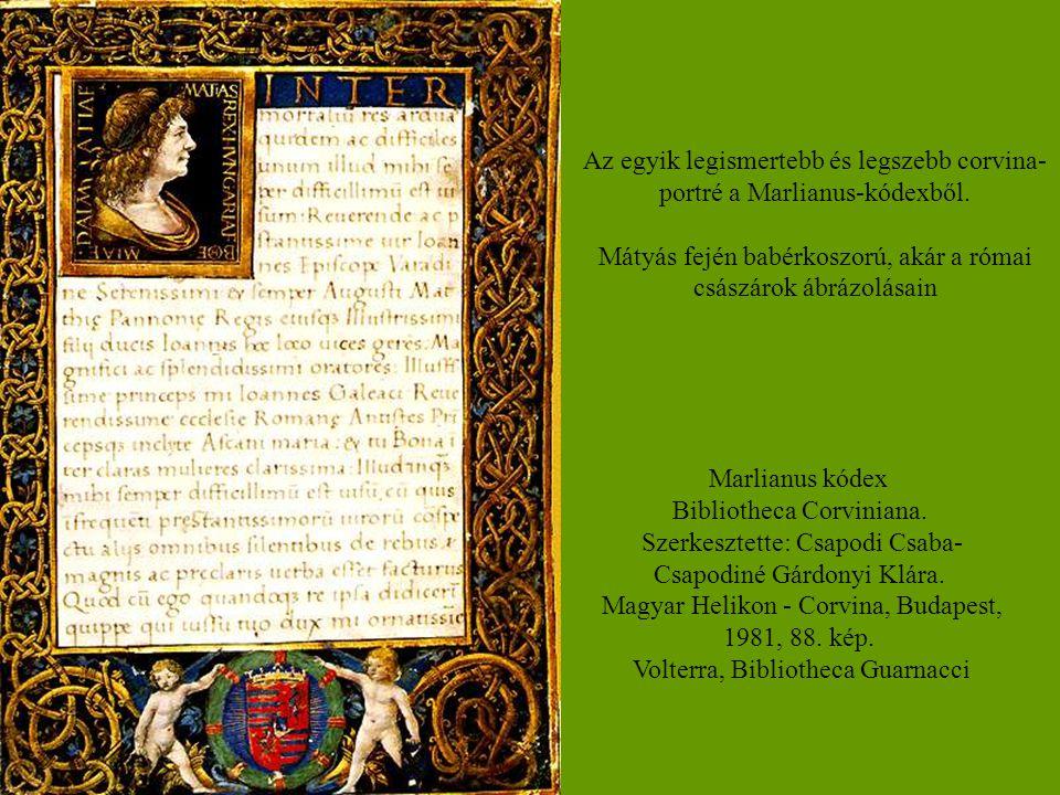 Az egyik legismertebb és legszebb corvina-portré a Marlianus-kódexből.