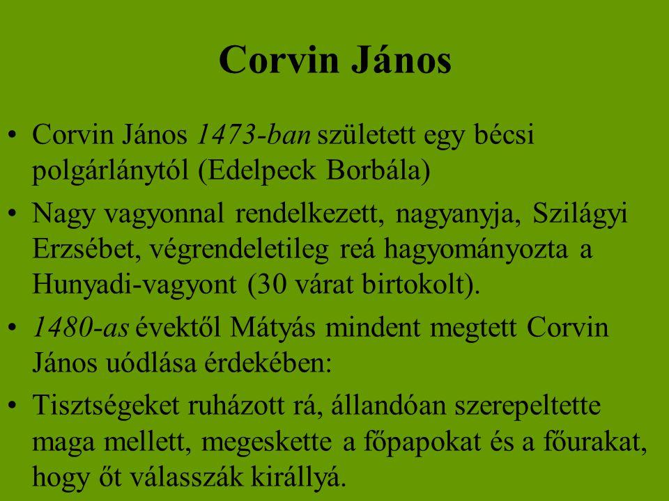 Corvin János Corvin János 1473-ban született egy bécsi polgárlánytól (Edelpeck Borbála)
