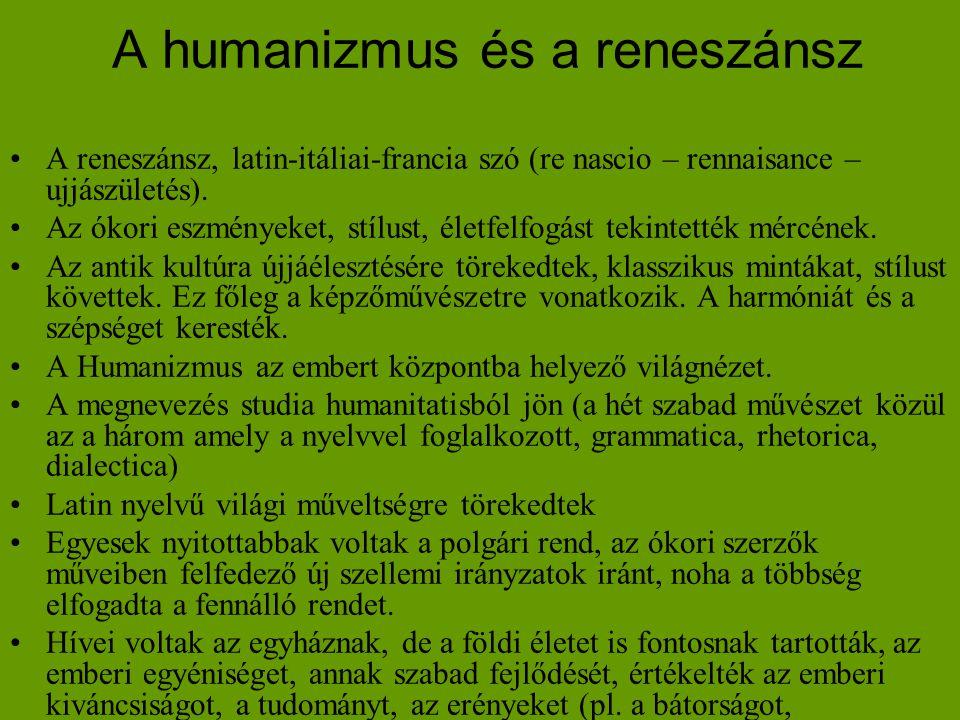 A humanizmus és a reneszánsz